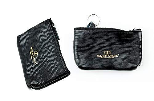 Schlüsseltasche Premium Leder Manhattan schwarz mit Paglia Narbung -