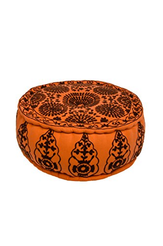 Orientalischer runder Pouf aus Baumwolle 50cm inklusive Füllung | Marokkanisches Sitzkissen Sitzpouf Kissen Kidar ø 50cm Rund | Marokkanischer Hocker
