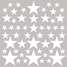 PREMYO Set of 54 Star Wall Stickers Kids - Nursery Decor Easy to Apply - Decals for Bedrooms for Girls Boys White
