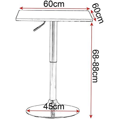 ZLL Haushalts High-End Kleine runde Tabelle-Quadrat Bar Pub-Tisch für Frühstück Bistro Küche, 360 Grad drehbar, Mdf Top, Höhenverstellbar 68-88 cm, Weiß,Weiß -
