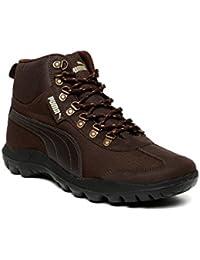 Puma Men Coffee Brown Solid High-top Sneakers-7 Uk