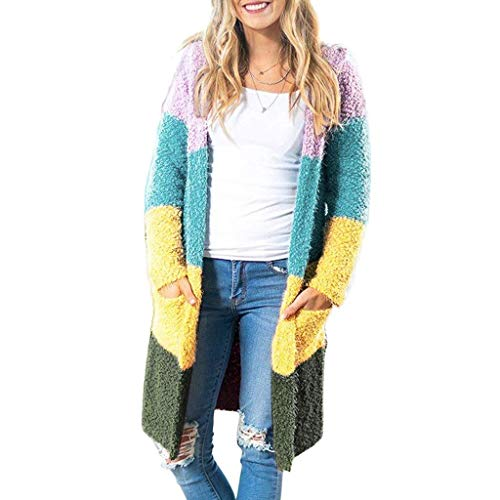 Strickjacken Damen mit Tasche,Übergangsjacke gestrickter,Dicke Wintermantel Lang Spleißen Fleecejacke,Cardigan Outerwear URIBAKY