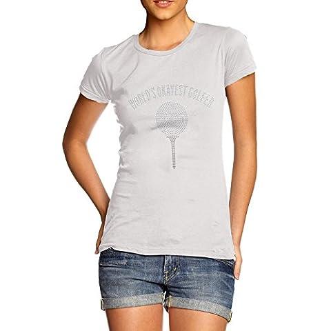 TWISTED ENVY Femme T-Shirt Worlds Okayest Golfer Rhinestone Diamante Strass Large Blanc