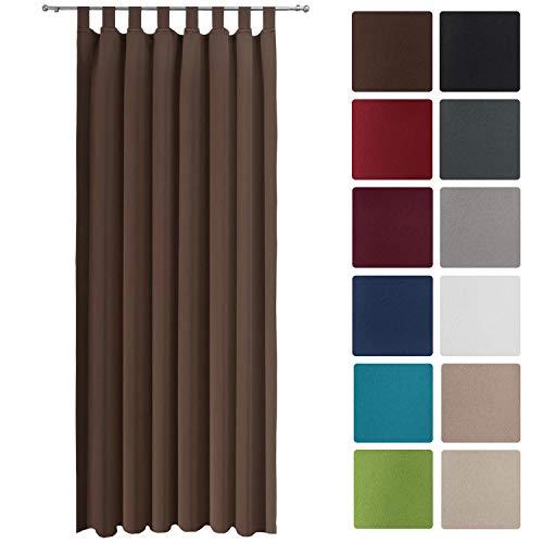 Beautissu Blackout-Vorhang Amelie BS mit Schlaufen - 140x245 cm Verdunklungsgardine Schlaufenschal Braun & weitere Farben