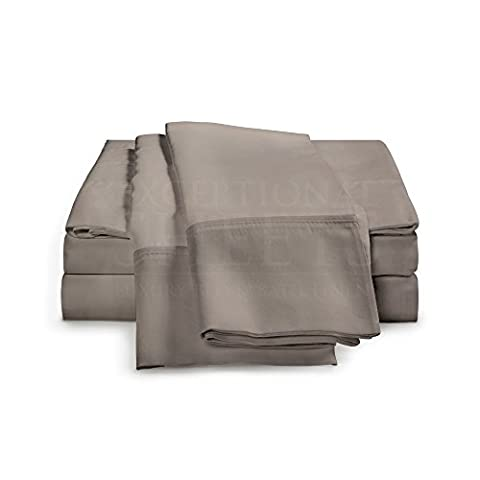 4-Piece Ultra Soft Rayon from Bamboo Bed Sheets by ExceptionalSheets, UK King, Grey