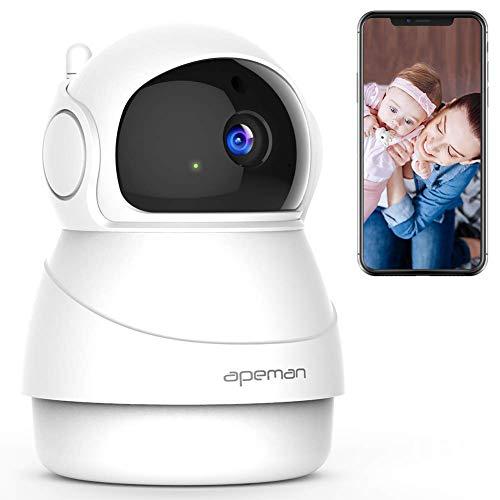 Foto de APEMAN 1080P IP Cámara WiFi,Cámara de Vigilancia Seguridad para casa con Visión Nocturna, Audio de 2 Vías, Detector de Movimiento Pan/Tilt, P2P/Ovnif/2.4GHz, Compatible con iOS/Android