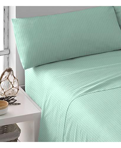 Pimpamtex - set di lenzuola in raso di cotone 100% per letto - (matrimoniale - 240x270 cm, verde tiffany)