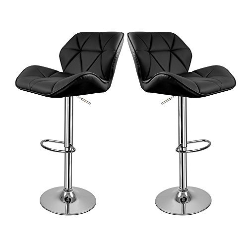 Hollylife 【Ideal Gift Father】 2 x Breakfast Bar Stools Faux Leather Bar Stool New Chair (Black)