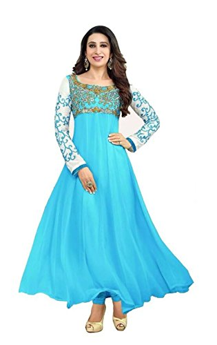 Dheylu Creation Women\'s Georgette Anarkali Suit (74365_Free Size_SKY BLUE)