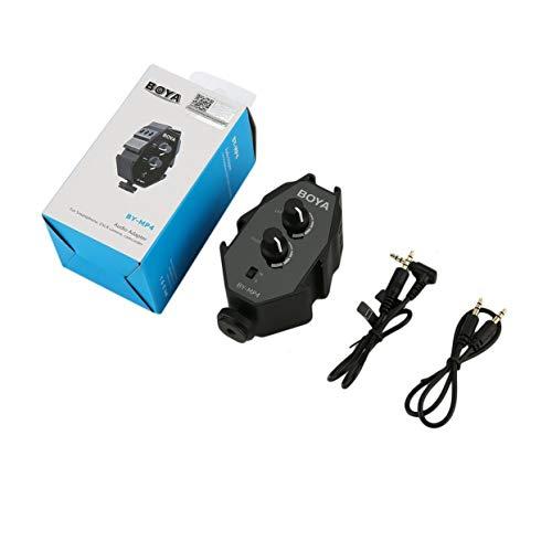 BOYA BY-MP4 Tragbarer Audio-Adapter für Smartphone-DSLR-Camcorder mit 3,5-mm-TRRS/TRS-Kabel im Mono- und Stereo-Modus
