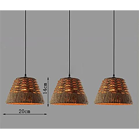 American Country Decoración individual Loft Tema retro del Cáñamo Industrial de la lámpara de la lámpara del restaurante Café Bar (tamaño, forma opcional) ( Tamaño : Three Straight Plate-s