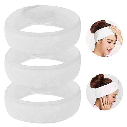 3 Pcs Haarband Stirnband Makeup Stirnband Weiß Haarband mit Klettverschluss für Bad Yoga Sport und Gesichtsreinigung ()