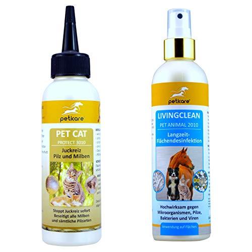 Peticare Katzen-Set | Juckreiz, Pilz und Milben bei der Katze (100 ml) + Flächendesinfektionsmittel (250 ml)