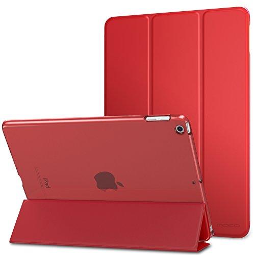 MoKo Funda iPad 9.7 Pulgada 2018/2017 - Ultra Slim Función de Soporte Protectora Plegable Smart Cover Trasera Transparente Durable - Rojo