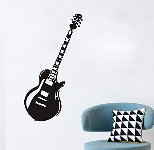 xlei Wandaufkleber Vintage Elektrische Gitarre Wandaufkleber Für Kinderzimmer Jungen Name Kindergarten Musikinstrument Wasserdichte Vinyl Wandtattoos Home Decor130X42Cm