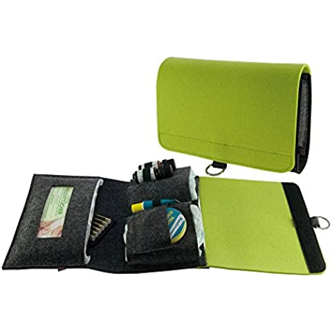 . ebos bolso cambiador gris/verde–Bolsa para pañales rollo de fieltro para pañales, toallitas, cremas, Baby de aceite, tiritas y globuli) para