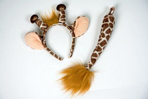 Karneval Kostüm Zubehör Giraffe Ohren Schwanz verkleiden Fasching (Schwanz Kostüm Zubehör)