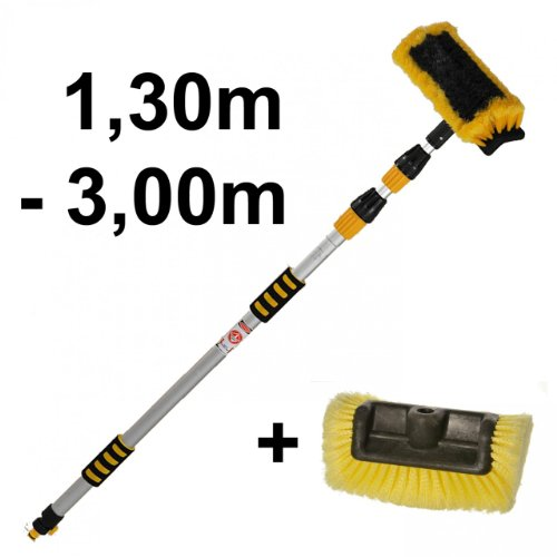 alu-wash-brush-telescopic-130-300-cm-with-water-flow-through-replacement-quad-brush-head