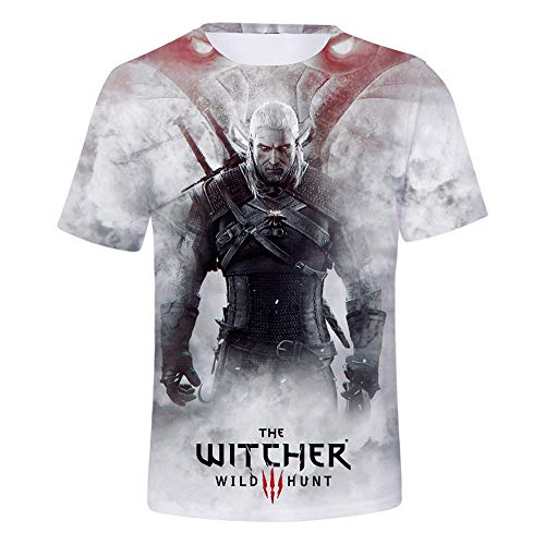 LZHWY Camiseta para Manga Corta Casual Verano 3D HD Imprimiendo Unisex Anime Undershirt The Witcher