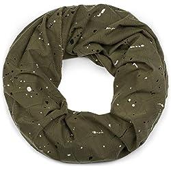 styleBREAKER fular de tubo con pliegues y manchas de pintura «all over», fular de tubo, pañuelo, unisex 01017079, color:Verde oliva