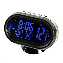 1 Pz 12-24V Auto LCD Orologio Digitale in/Out Temperatura Termometro Voltmetro Blu (Blu) – Blu