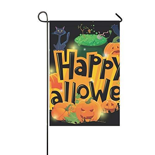 artoon Halloween Grußkarte Garten Flaghouse Yard Flaggarden Yard Decorationsseasonal Willkommen Outdoor Flagge 12X18 Zoll ()