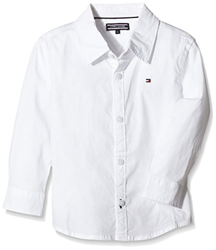 Tommy Hilfiger Solid Stretch Poplin Shirt L/S Camicia, Bambini e Ragazzi, Bianco (Classic White 100), 128 (Taglia produttore:8)