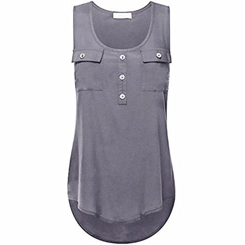 ZIYOU Blusen Ärmellos Damen, Frauen Casual Vest/Mode Tank Tops T-Shirts mit Tasche Einfarbig, S~5XL Größe (Grau, L)