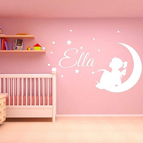 finierte Mädchen Name Wall Decal Fee auf Mond Wandbild abnehmbare Vinyl Sterne und Vogel Aufkleber Kinder Kinderzimmer Schlafzimmer Wand Dekor rot 91x57cm ()
