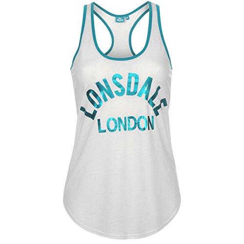 Lonsdale Femmes Logo Débardeur Singlet Sans Manches Top Haut Sport Casual Blanc