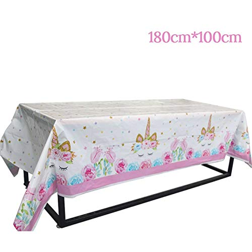 HITSAN INCORPORATION 1set Unicorn Party Photo Booth Props Frame Happy Birthday Party Decorations Kids Adult Photobooth Props Party Favors Supplies Color 1pcs Tablecloth