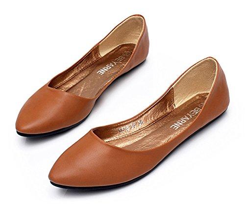 Aisun Damen klassische Lederoptik Low-Cut Spitz Slipper Ballerinas Braun