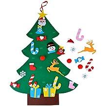 Qincos Árbol de Navidad de Fieltro DIY con 26pcs Adornos Desmontables, Navidad Decoración de Pared