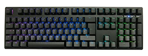 iKBC F108 RGB LED Backlit Mechanical Gaming Keyboard with Cherry MX Brown Switches, Black Case, Double-Shot PBT Keycap, Full Size, EU/ISO -