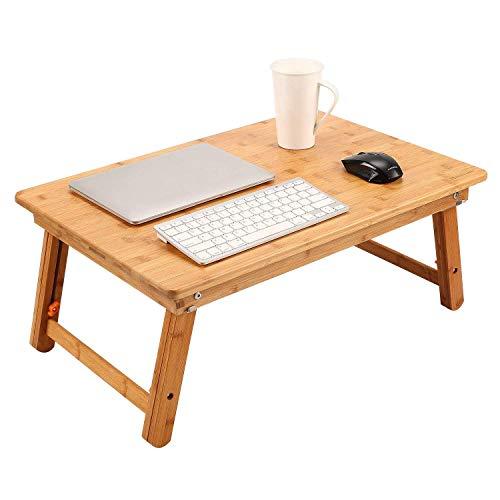 Nnewvante Bambus Laptoptisch Notebooktisch Betttisch Lapdesks Tragbare Laptop Schreibtisch für bis 18 Zoll Laptops höhenverstellbar Faltbare 65 x 45 x (28-40) cm