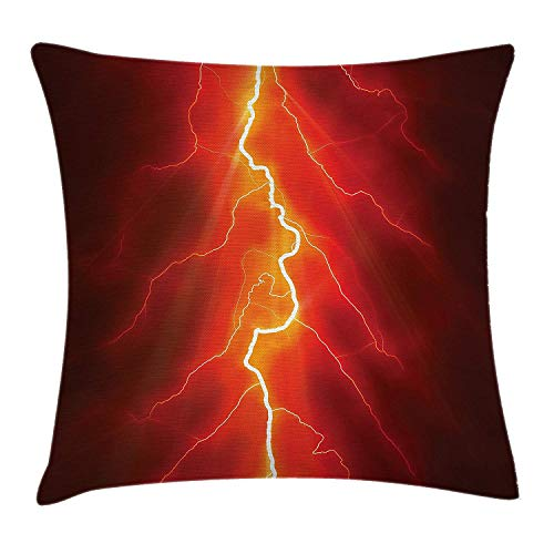 Nature Throw Pillow Cushion Cover, Lightning Bolt Forked Against Dark Sky Thunderstorm Intense Electrical Rays Theme, Decorative Square Accent Pillow Case, 18 X 18 inches, Yellow Red