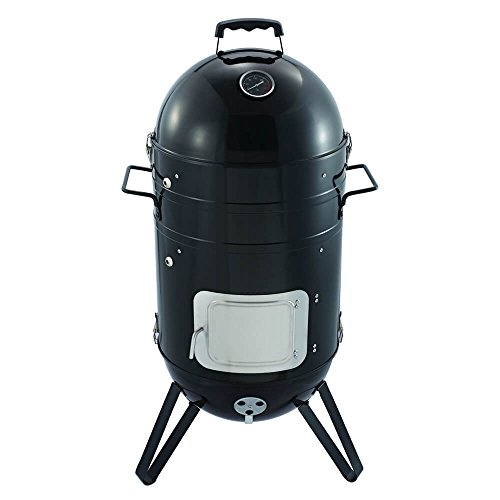 Hands down the Callow Premium Charcoal Smoker BBQ Grill is the best smoker BBQ. This impressive model can literally perform any method of cooking, whether BBQ grilling, meat smoking, and water smoking. To enable this, it comes with 2 cooking grates, 1 smoking rack, and 6 hooks. Other good features include adjustable air vents, a lid with heat-resistant handles, and access points to the charcoal and water pans. The 0.9mm carbon steel body is also built to last. This is the perfect package for starters and experts alike, great quality at a very affordable price.