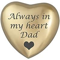Siempre en Mi Corazón Papá corazón dorado para de recuerdo de urna cenizas cremación