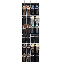 ZOBER Premium Hanging Shoe Storage with Hooks - Durable Non-Woven Over Door Shoe Hanger Storage Bag Organiser, Breathable Mesh Pockets, Wardrobe Hanging Shoes Rack, Adjustable Easy Assembly Hooks