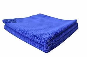 SOFTSPUN Microfiber Cloth - 2 pcs - 40x40 cms - 340 GSM Blue - Thick Lint & Streak-Free Multipurpose Cloths - Automotive Microfibre Towels for Car Bike Cleaning Polishing Washing & Detailing
