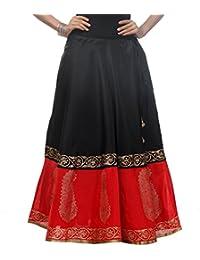 Nika Women's Semi Dupion Silk Half N Half Hand Block Printed Long Skirt By Kaanchie Nanggia (KNA-1419_Black &...