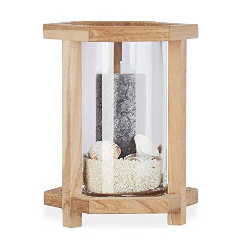 Relaxdays Holz Windlicht, Hexagon, Glasvase groß, Eckiger Kerzenhalter, Tischdeko für Stumpenkerzen, 26,5 cm Hoch, Natur
