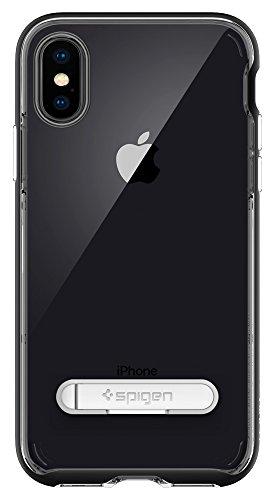 iPhone X Hülle, Spigen® [Crystal Hybrid] Integrierter Metall-Kickstand [Rose Gold] 2-teilige Premium Handyhülle Durchsichtiges Silikon TPU Schale + PC Rahmen Schutzhülle für iPhone X Case Cover - Rose CH Schwarz