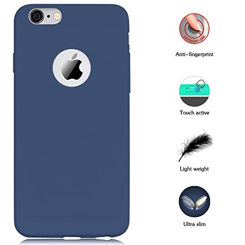 "Case for iPhone 6 / 6S(4.7""), Yokata Ultra Thin Slim Lightweight Matte Soft Silicone Gel TPU Cover Trendy Candy Colour Back Bumper Rubber Shockproof Non-slip Protective Case for iPhone 6 / 6S(4.7 Inch) - Navy Blue"