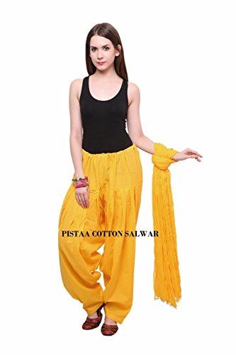 Pistaas Full cotton Patiala Salwar With Dupatta (YELLOW,PPWDYLW)