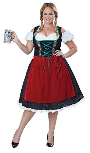 Oktoberfest Womens Fraulein Kostüm - OKTOBERFEST Fraulein Plus Größe Kostüm, Black,Red,White, XX-Large