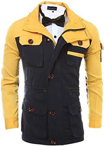 jeansian Herren Casual Windcheater Windbreaker Jacket Outdoor Sports Climbing Skiing Cycling with Hood Coat Outerwear 9566 Beige