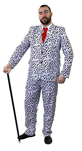 Dalmation Print Suit with Red Tie and Cane. 5 adult sizes