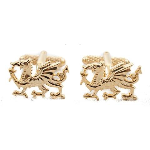 Chapado en oro Gemelos dragón galés de regalo