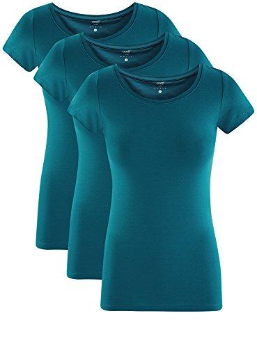 oodji Ultra Donna T-Shirt Basic Aderente (Pacco di 3) Verde (6C00N)